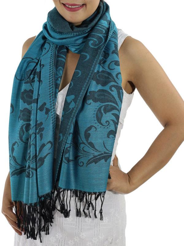 buy aqua blue pashmina wrap