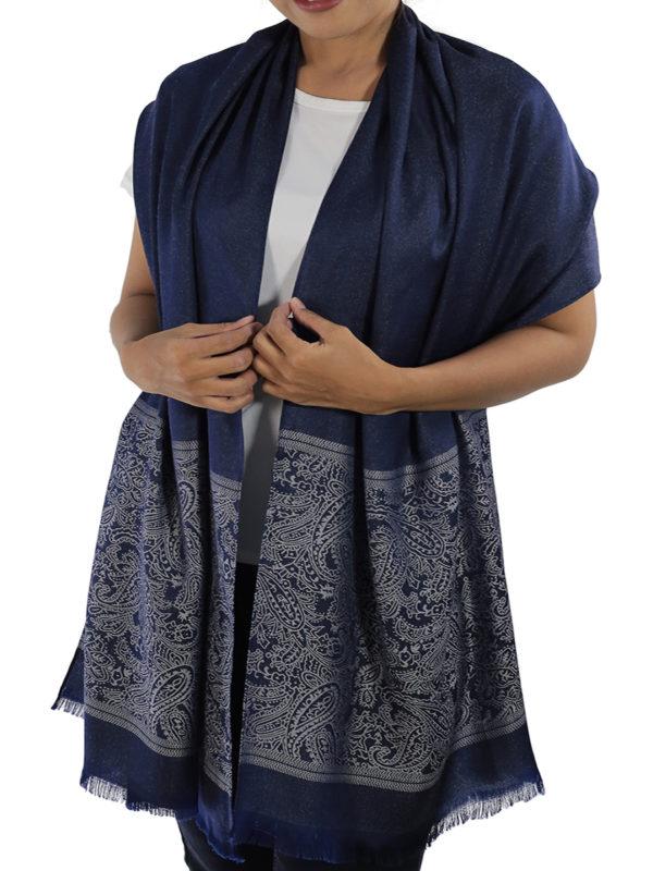 buy blue silk shawl