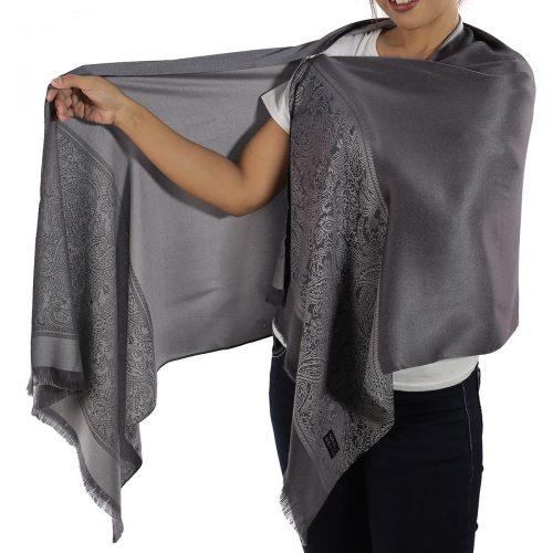 buy grey silk scarf