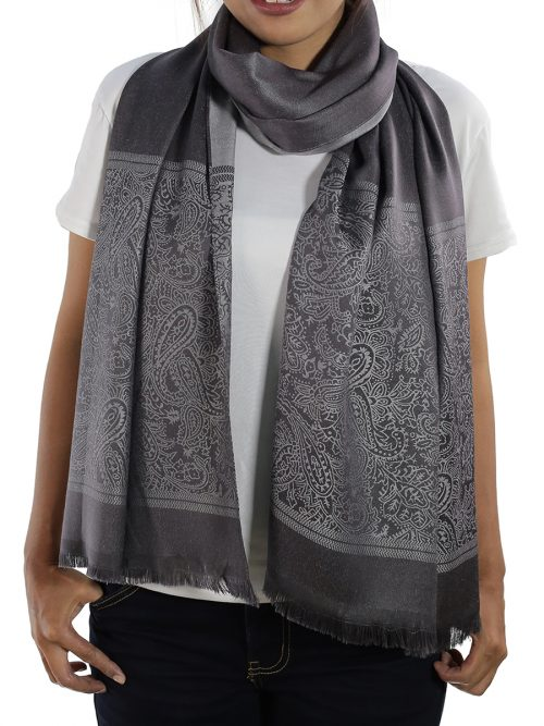 buy grey silk shawl