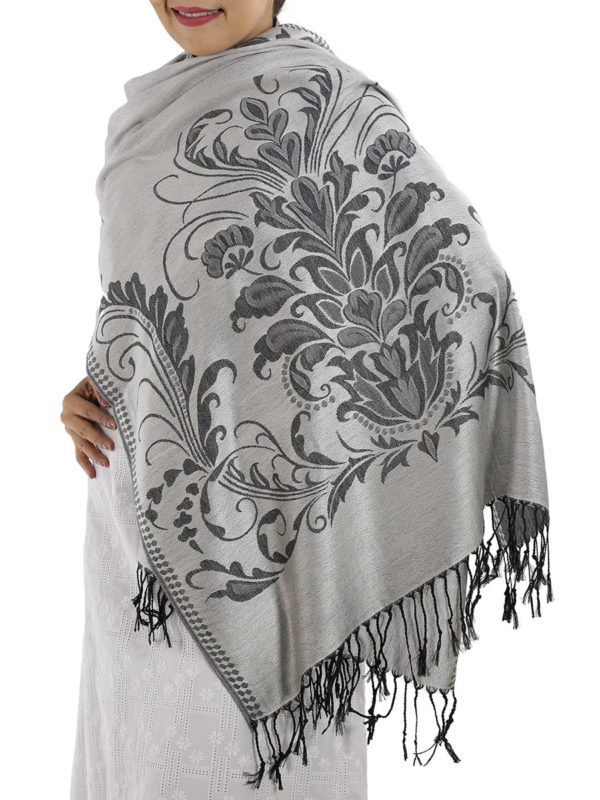 buy silver pashmina scarves