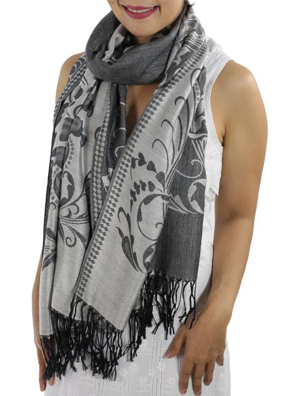 buy silver pashmina wrap