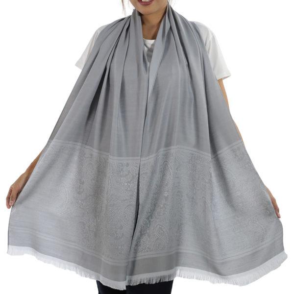 buy silver silk shawl