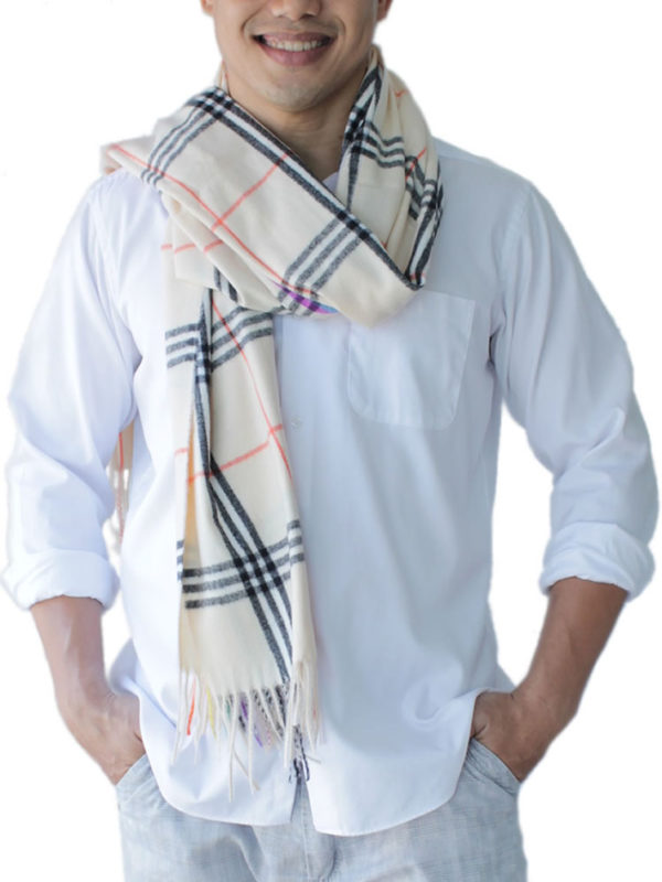 mens cream scarves
